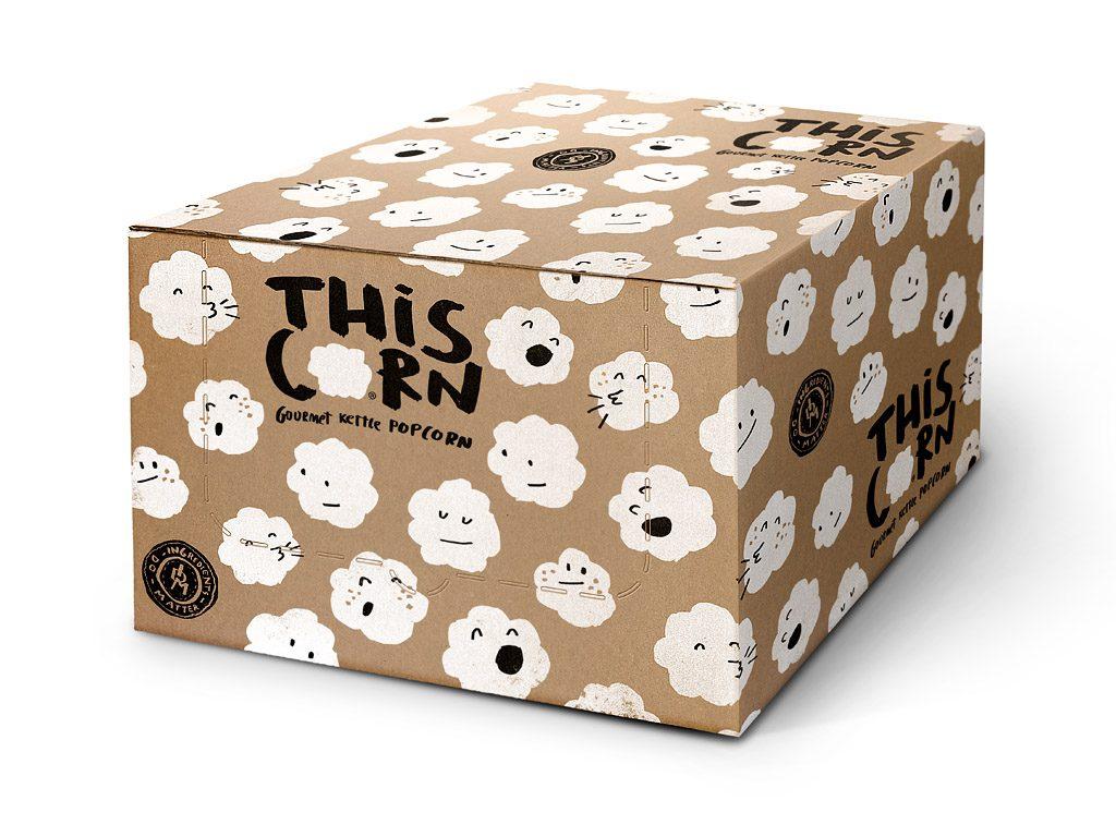 미국 유명사의 팝콘 귀여운 택배 포장 디자인