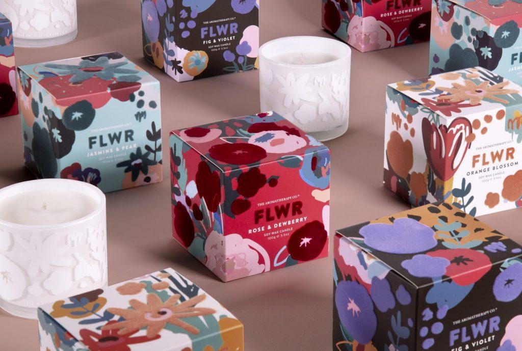 플로럴 프린트 향초 제품 박스