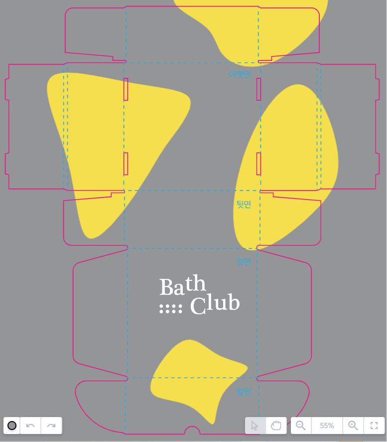 패커티브의 무료 에디터로 제작한 G형 포장박스 디자인