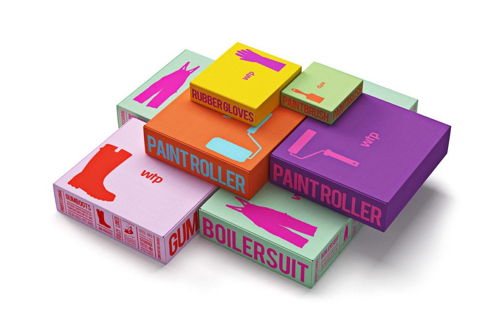화려한 칼라 및 글꼴 이용한 상자 디자인