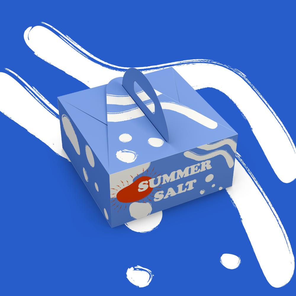 섬머 솔트 손잡이 상자 제작의 패키지 디자인 예시